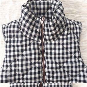 Peach Love California Jackets & Coats - Peach Love Navy White Gingham Puffer Vest Check Sm